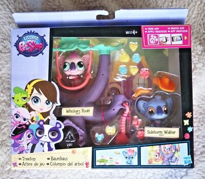 Littlest Pet Shop: Treetop (Whiskers Ryan & Sideburns Walker). Brand New!