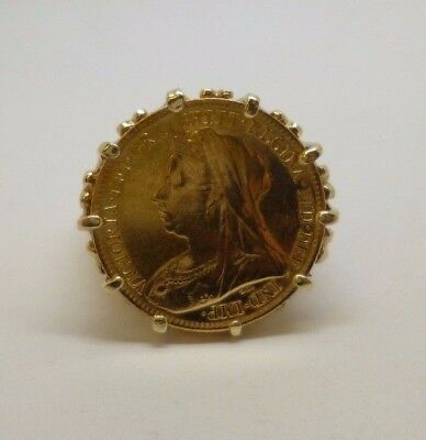 antique vintage 22ct 1898 1/2 sovereign and 9ct gold filigree ring mount