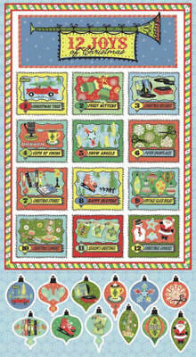 The 12 Twelve Joys Of Christmas Cotton Quilting/wall Panel Brand New
