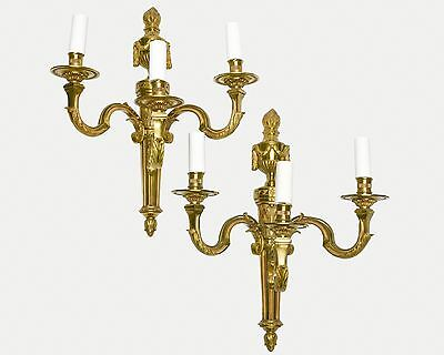 Pair of French Vintage Bronze Sconces Leaves & Empire Style Motif Triple Arm