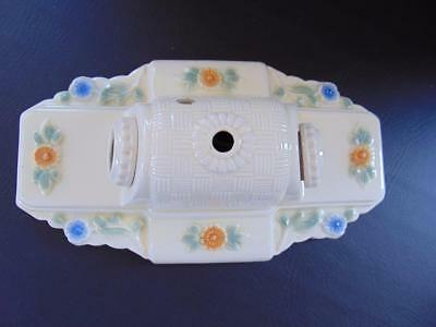 Vintage Floral Porcelier Double Light Porcelain Ceiling/Wall Light Fixture