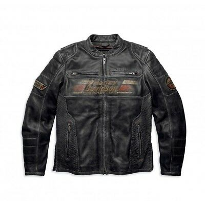 Mens Harley Davidson Classic Motorcycle Leather Jacket With Front and Back Print