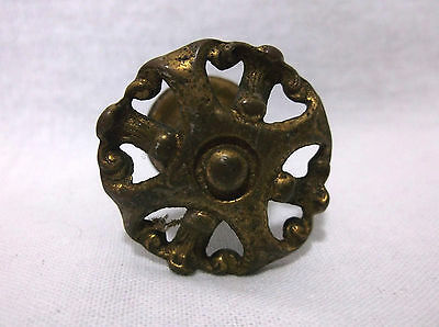 Vintage Antique Brass Drawer Pull Knob Handle Kitchen Dresser Victorian Metal