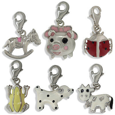 925 Sterling Silver Charm Bracelets Pendants Boots Piggy Frog Dog Cow Gift Box