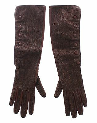 Dolce & Gabbana Brown Wool Lambskin Leather Elbow Gloves Guanti Donna 6-Xs