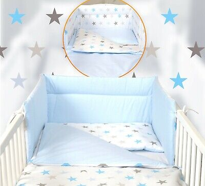 BLUE/ PINK  STARS BABY BEDDING SET -COT or COT BED -BUMPER+QUILT, PILLOW ,COVERS