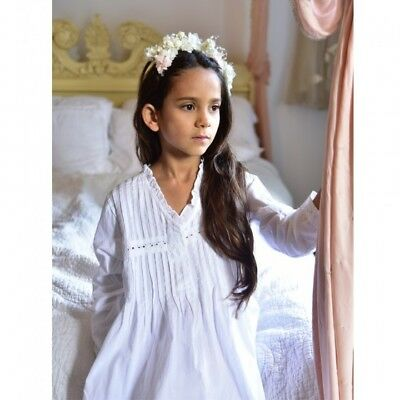 Girls Long Sleeved White Cotton Nightie Nightdress BNWT Powell Craft  Age 1-12
