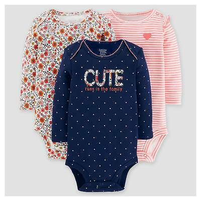 Baby Girls' 3pk Long Sleeve Floral Bodysuit - Just One You™ Made by Cart...