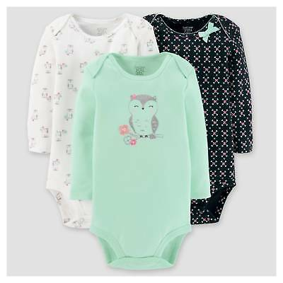 Baby Girls' 3pk Long Sleeve Owl Bodysuit - Just One You™ Made by Carter'...