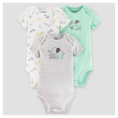 Baby Boys' 3pk Short Sleeve Elephants Bodysuit - Just One You™ Made by C...