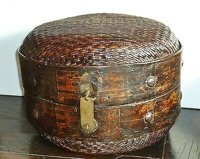 Antique Chinese Willow Woven Basket Hinged 13 x 9