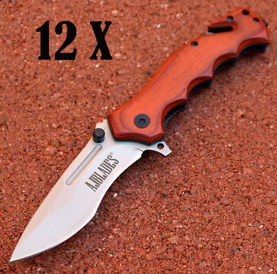 12 X Tactical Rescue Spring Assisted Open Wood Handle Pocket Knife - AJ502
