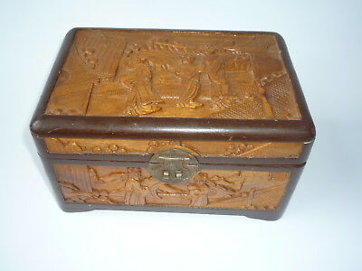Old Chinese Wooden Carved Picture Jewellery Trinket Box