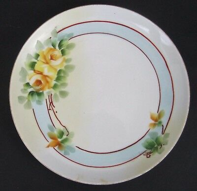 Vtg Collector Plate Ceramic Hand painted Yellow Rose Blue Red Border Japan