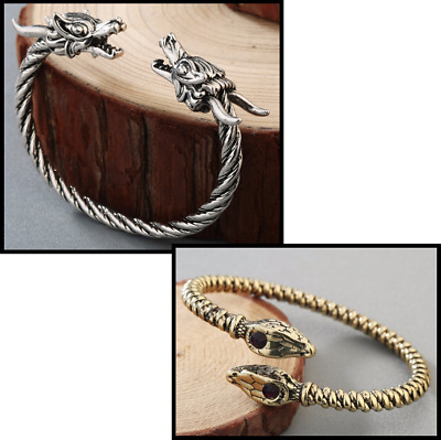 Viking Bracelet Bangle Double Dragon Snake head Twist Slavic Animal Jewelry