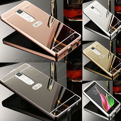 Luxury Metal Aluminum Frame Bumper Case + PC Mirror Back Cover For LG Phone