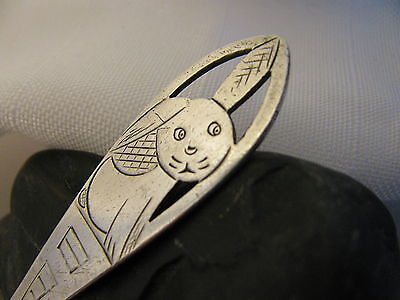 Antique German 0.800 Silver Baby Spoon With Rabbit On Handle