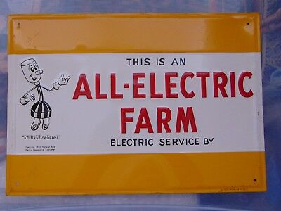 """Vintage 1950's Willie WireHand All Electric Farm Metal Sign 9 1/2"""" x 13"""""""