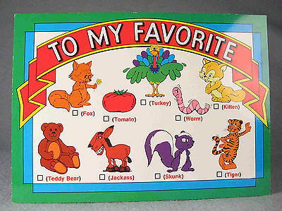 """Skunk comic and color postcard """"To My Favorite"""" by H. a L. Inc., San Diego, CA"""