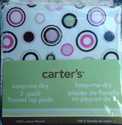Carter's Keep-Me-Dry Baby Girl 3-Pack Cotton Flannel Lap Pads Pink Brown Circle