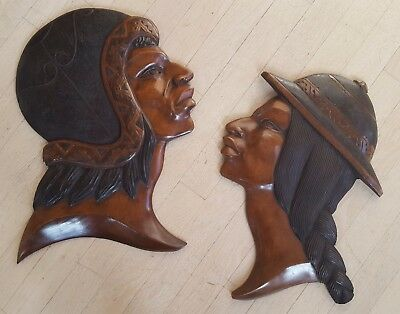 Pair of (2) Vintage Hand Carved Bolivian Inca Head Profiles, Wall Hanging, Rare