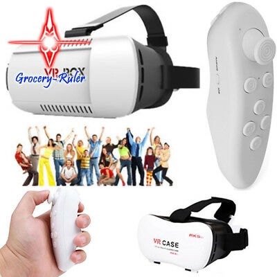 VR BOX Virtual Reality 3D Glasses Bluetooth Game Remote Control For Phone New