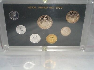 1970 NEPAL 7 Coin Proof Set Paisa Rupee Nepalese Coinage Sealed in Plastic Case!