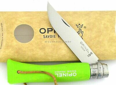 Opinel Trekking Apple Green No 7 Stainless Steel Knife Lanyard Leather France