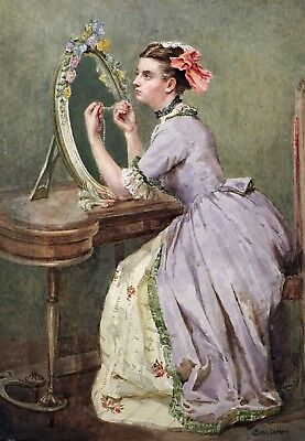 Fine Watercolour Portrait of a Lady at her Dressing Table - Antique Painting
