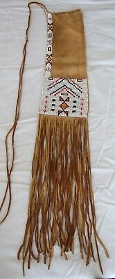 Native American Beaded Leather Pipe Bag - Sioux