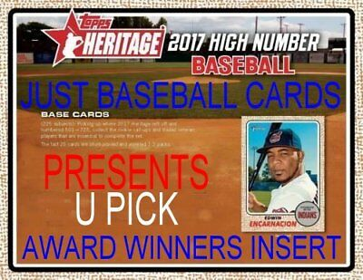 2017 Topps Heritage High Number Award Winners Singles U Pick Complete Your Set