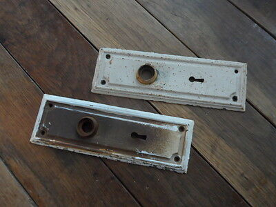 "Antique Vintage Metal Door Plates 7-1/4"" X  2-3/8"""