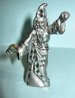 Pewter Figurine Wizard With Crystal Ball