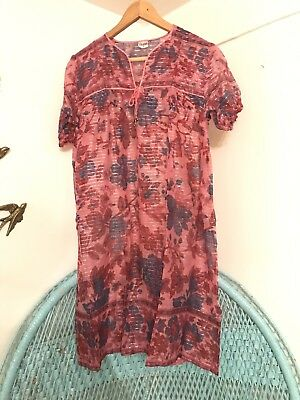Gypsy Midi  Boho Dress Vintage  Indian Hippy Festival 12 10 Cotton Beach 8 Pink