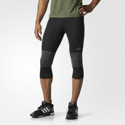 New Adidas Mens Workout Running Supernova Compression 3/4 Tights Black SZ S