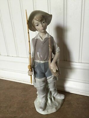 LLADRO Glazed Porcelain Collectible - Boy Going Fishing