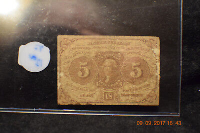 """1862 Five Cent Postage Currency, Bates, Joseph L. """"Fancygoods"""".....#303"""