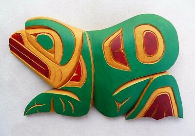Northwest Coast First Nations native wood Art carving, Frog wall panel, signed