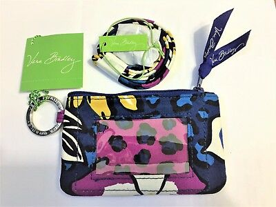 NWT VERA BRADLEY ZIP ID CASE AND LANYARD SET GIFT  African Violet COLOR