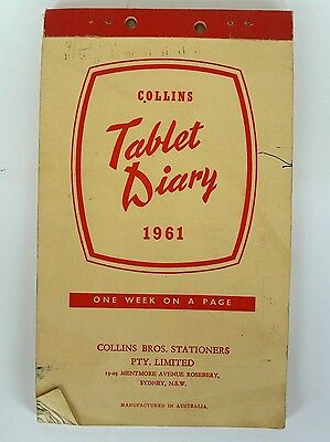 Retro/vintage - Tablet Diary 1961 - Collins - One Week Per Page - Used