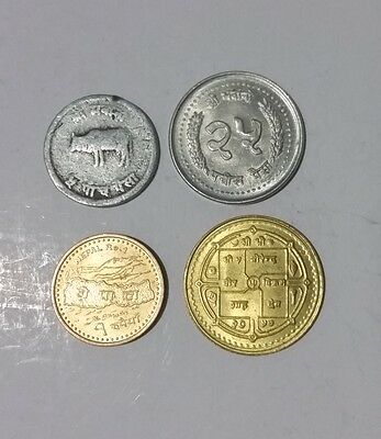 Nepal lot of 4 different Nepalese coins Paisa & Rupees