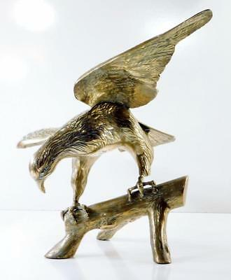 "Large Vintage BRASS AMERICAN BALD EAGLE STATUE ON BRANCH ~ 27"" Wingspan"