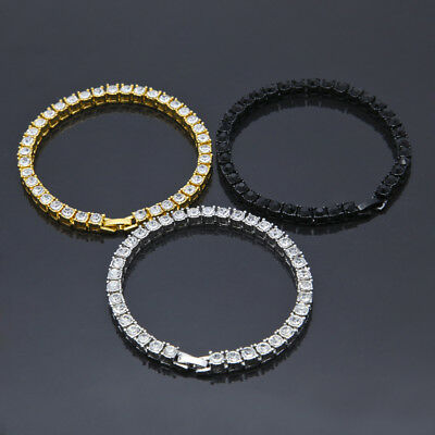 AAA Gold Silver Black Gunmetal Bling Iced Out Tennis Simulated Diamond Bracelet