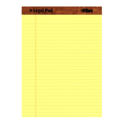 Legal Pad 50 Canary Sheets per Pad 12 Pads per Pack Perforated 8.5 x 11.75 Inch