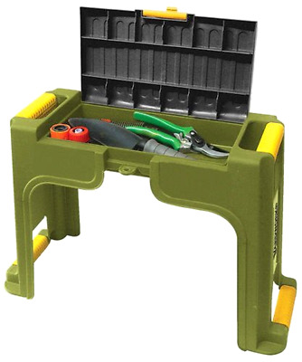 Seat Bench Kneeler with Tool Storage Box Cushion Knee Pad and Carrying Hanldes