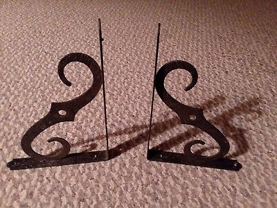 vtg metal hammered bronze look scroll shelf bracket set sign holder