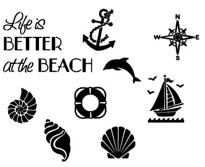Life is better at the beach Stencil Card Quilting Airbrush Tattoo Free Post