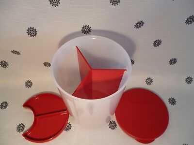 Tupperware 1.5L Divided Canister Red & White New