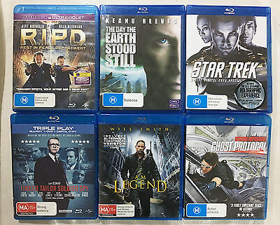 6 Blue-Ray Movies - includes I am Legend, Ghost Protocol, R.I.P.D, Star Trek,