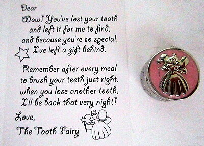 """Baby Keepsake """"my First Tooth"""" Silver & Pink Box With Tooth Fairy Calling Card"""